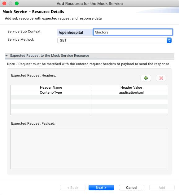 Mock Service Resource Request Details